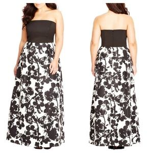 City Chic Painted Poppy Strapless Maxi Dress SzM18